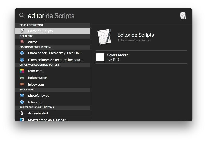 Editor de scripts en spotlight