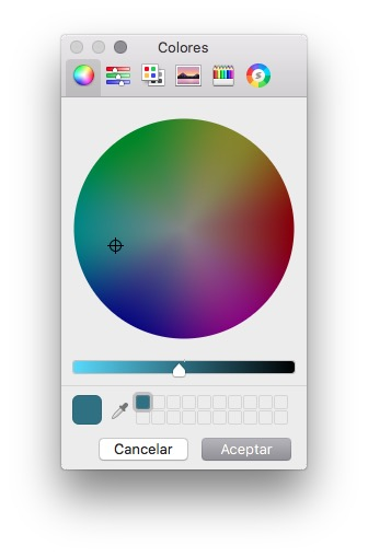 tu aplicación colors picker ejecutándose